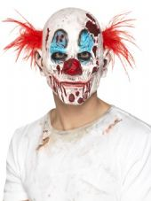 Zombie Clown Over Head Mask With Hair